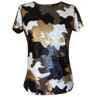 Michael Michael Kors camouflage print sequin top