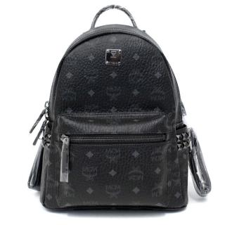 MCM Black Leather Stark Studded Backpack
