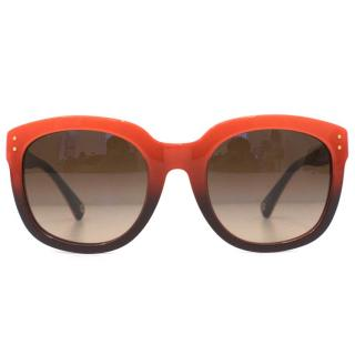 Coach Orange And Blue Square Sunglasses