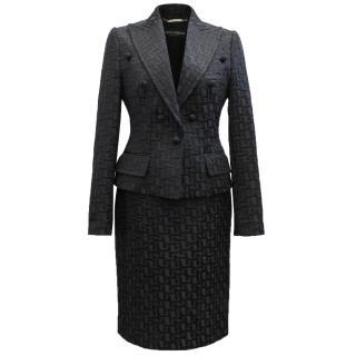 Dolce & Gabbana Black Jacquard Skirt Suit