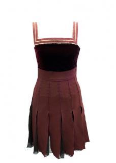 Hilfiger Collection Burgundy Velvet and Crepe Midi Dress