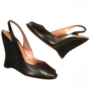 Alaia black leather nappa wedges
