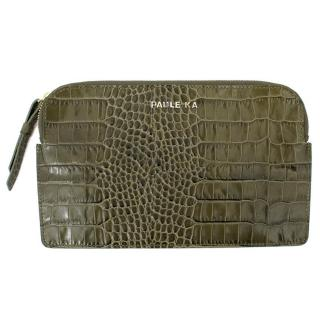 Paule Ka Green Leather Patent Croc Embossed Clutch Bag