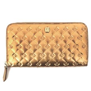 Fendi Gold Quilted Leather Purse