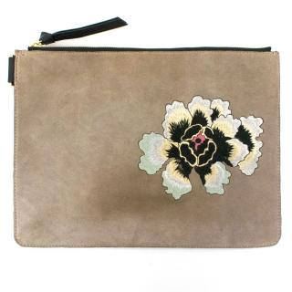 Newbark Two Tone Grey Embroidered Clutch