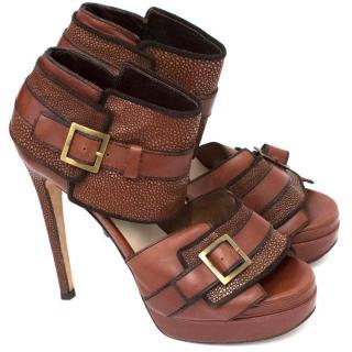 Chrissie Mom's Brown Platform Sandals