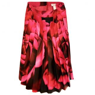 Tracy Reese Wool Silk Pleated Rose Print  Skirt