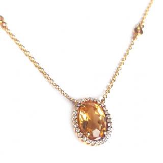 Kiki Mcdonough Citrine & Diamond Necklace 18ct Gold
