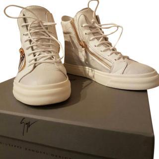 Giuseppe Zanotti White Croc Embossed High Top Sneakers