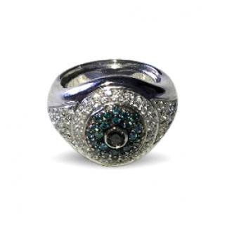 Cchevalier diamond club daimond/sapphire evil eye ring