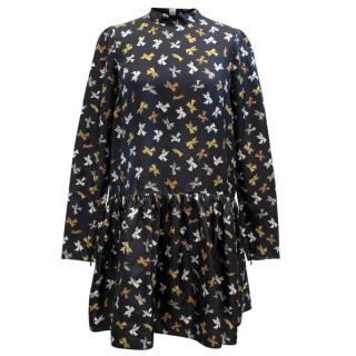 Rochas Printed Silk High Neck Dress