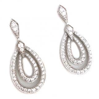 Fine 18ct White Gold Diamond Encrusted Earrings