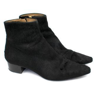 The Row  Black Ambra Ponyskin Ankle Boots