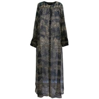 Adriana Degreas Silk Paisley Maxi Dress