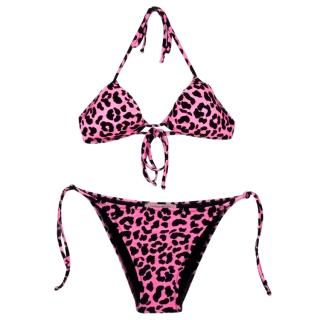 Christopher Kane pink and black Leopard print bikini