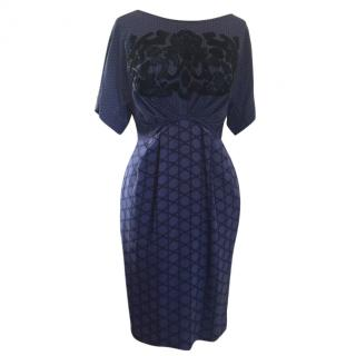 3.1 Phillip Lim blue silk dress with black embroidery