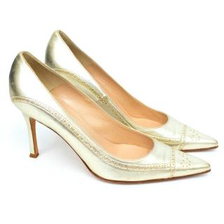 Manolo Blahnik Gold Metallic Pointed Toe Courts
