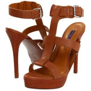 Ralph Lauren Collection Tan Leather Babette Sandals