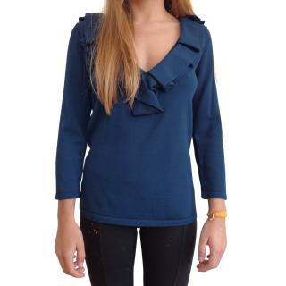 Carolina Herrera Blue Top with ruffles