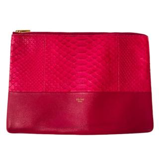 Celine Pink Zip Phyton and Leather Clutch