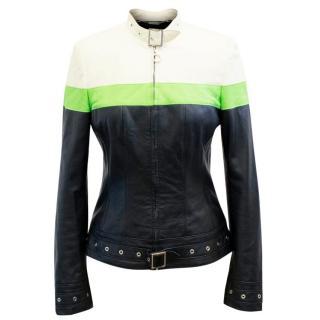 Escada Cream, Green And Black Leather Jacket