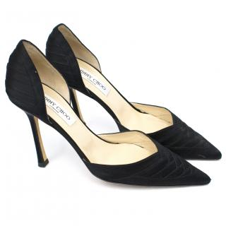 Jimmy Choo Black Satin Pointed Pumps