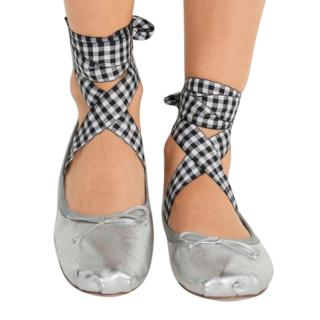 Lace-up grosgrain-trimmed metallic leather ballet flats