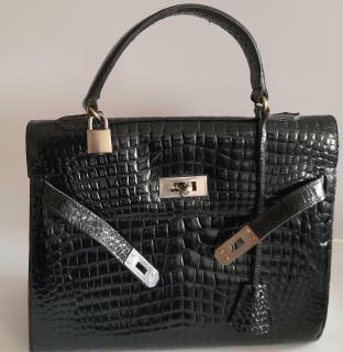 Vintage Genuine Crocodile Kelly Style Top Handle Bag