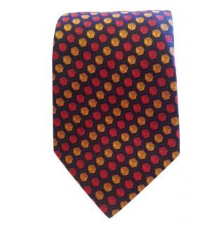 Hermes Blue Base With Red & Orange Box Foulard Pattern Silk Tie