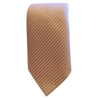Hermes Pink Base With Blue Striped Pattern Silk Tie