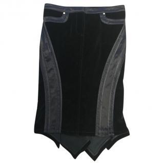 Roberto Cavalli black velvet pencil skirt
