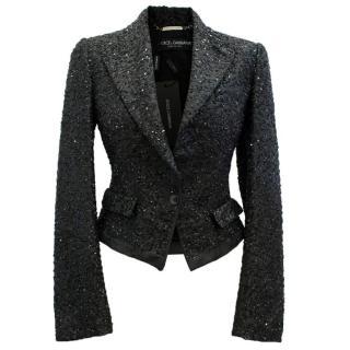 Dolce & Gabbana Black Sequinned Blazer