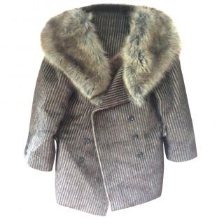 Louis Vuitton alpaca,silk, jacket with fox and mink collar