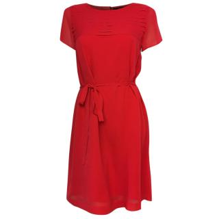 Natan red silk voile dress with matching belt