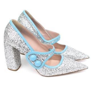 Miu Miu Silver Glitter Pumps