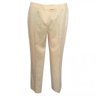 Emanuel Ungaro ecru cropped silk pants