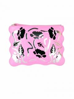 Christopher Kane Art Nouveau embossed pink leather clutch