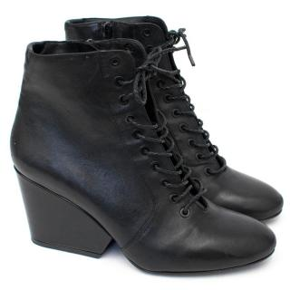 Robert Clergerie Black Lace Up Boots