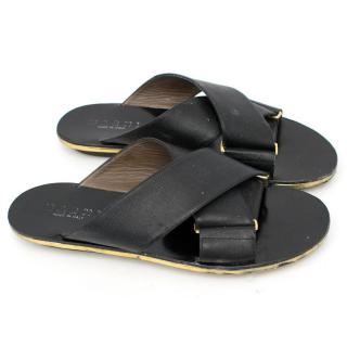 Marni Black Crisscross Fussbett Sandals