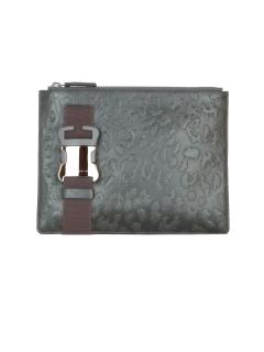 Christopher Kane Leopard style embossed green leather clutch