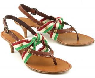 Moschino Slingback Kitten Heel Toe Post Sandals
