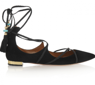 Aquazzura Poppy Delevingne Hero Ballerina Suede Point-Toe Flats.