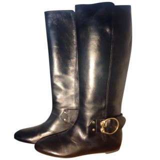 Alexander McQueen MCQ Black leather knee length boots