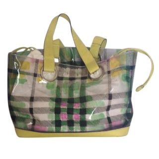 Burberry vinyl green beach tote bag