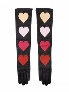 Christopher Kane love heart long soft leather gloves