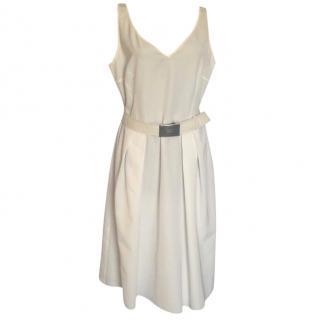 Prada belted off white dress