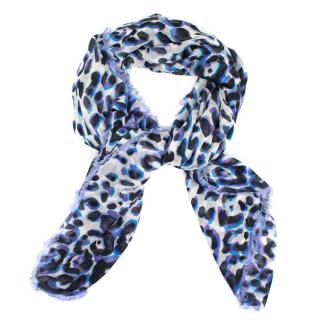 Jimmy Choo Purple Leopard Print Scarf