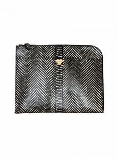 Emporio Armani black and white leather clutch