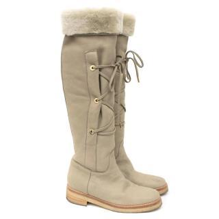 Loro Piana Shearling Knee-high Flat Boots