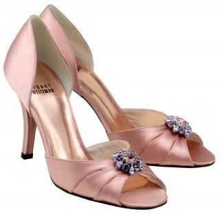 Stuart Weitzman Old Rose pink Peep toe Satin Shoes & Crystal flower